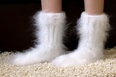 New Hand knitted mohair socks Fuzzy handcrafted WHITE leg warmers by SUPERTANYA #SuperTanya #Casual
