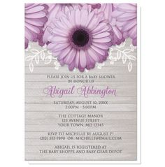Girl daisy Baby Shower invitations, perfect for Spring or Summer with purple daisy flowers over a gray wood pattern containing a white floral lace overly.