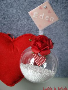 Ma première boule de Noël personnalisée - Décoration de Noël pour bébé - Coeur rouge : Décoration pour enfants par luciole-la-bricole