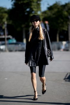 The Street Style Crowd Dressed Up Denim With Fancy Tops at Paris Couture Week - Fashionista