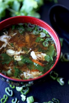 """Pickled Plum Blog: """"This  egg drop soup came about after I found a recipe for a Thai omelet soup in a newspaper ages ago""""...Vegetable broth, soy sauce, egg, carrot, cilantro, Thai chilies, and lots of green onion.  Not your typical egg drop soup--the broth ends up tasting beefy."""