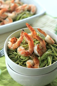 Goat Cheese Spinach Pesto Pasta with Grilled Shrimp