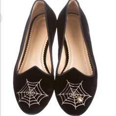 Charlotte Olympia Spider Web Flats Black velvet Charlottle Olympia Spider web flats. Round-toe with gold metal spider web embroidery details, gold tone covered heels and gold spider adornment. Small rubbing on the velvet in front upper. Still in great condition in general. Fits true to size. Charlotte Olympia Shoes Flats & Loafers