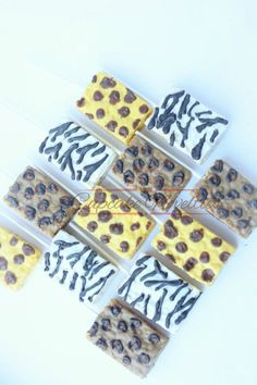 Buy Online! Delicious custom Chocolate dipped Animal Print Rice Krispie Treats! Mix of Zebra print, Cheetah print, Giraffe print (Tiger stripes can be done too!) Great for a Safari Baby Shower or Birthday, Jungle Birthday party dessert table or birthday party favors, treats for a Jungle Baby shower, Go Diego Go birthday, a jungle safari party, or a Forest themed party!