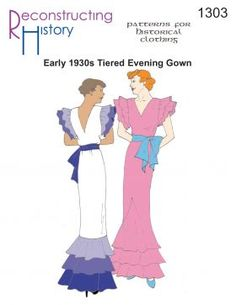 1930s Evening Gown Sewing Pattern $21.56 AT vintagedancer.com