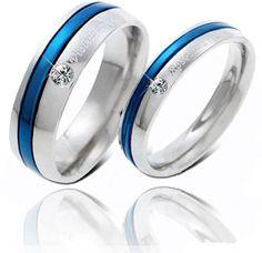 Engravable 316L Titanium Steel Blue Couple Promise Ring