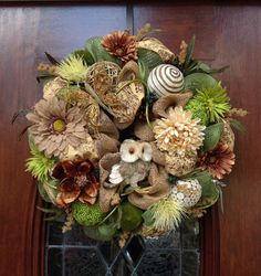 Neutrals and Green Owl Anytime Wreath by HertasWreaths on Etsy