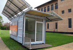 Prototipo de contenedor marítimo alterado para funcionar como una oficina autónoma, fuera de la red. Cuenta con paneles fotovoltaicos abatibles en su cubierta.