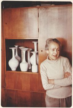Lucie Rie at her flat, 18 Albion Mews, London Ceramic Artists, Art Studios, Artist At Work, Ceramic Pottery, Clay, Sculpture, Photo Style, Inspiring People, Portrait Inspiration