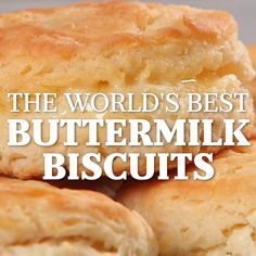 Southerners have more than mastered the art of the flaky, buttery biscuit. In our book, we've made it a true Southern staple. And, if you ask us, there's nothing better on a Sunday morning breakfast t Best Buttermilk Biscuits, Buttery Biscuits, Cookies Et Biscuits, Recipes With Buttermilk, Recipes With Flour, Dessert Biscuits, Buttermilk Uses, Honey Butter Biscuits, Buttermilk Cookies