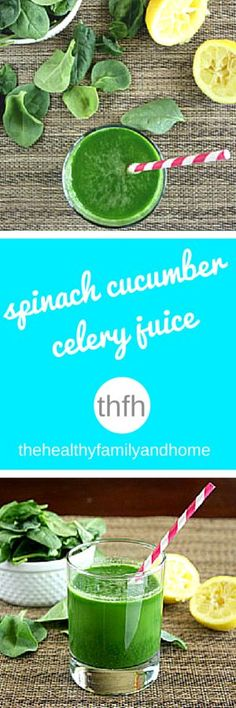 Clean Eating Spinach Cucumber  and Celery Juice...made with only 4 fresh, clean ingredients and it's raw, vegan, gluten-free, dairy-free, paleo-friendly and ready in minutes | The Healthy Family and Home
