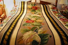 Ravelry: lacelady25's Spring Bouquet Afghan, Tthis might be one of the most beautiful crochet & cross stitch blankets I ever did see! If I were a fellah, I would marry her just for her blanket!!!!