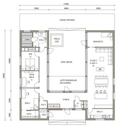 × 1 of 13 Lue House Plans One Story, New House Plans, House Floor Plans, U Shaped House Plans, U Shaped Houses, Flat House Design, Minimal House Design, Hacienda Homes, Architectural Floor Plans
