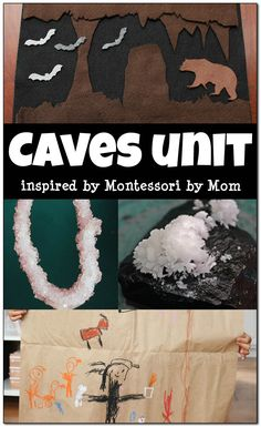 This Montessori-inspired caves unit includes ideas for learning about cave formations, growing crystals, creating cave art, building a cave scene, and doing cave-inspired math activities. || Gift of Curiosity