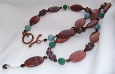 Jasper gemstone drop necklace Rustic red by LifeStoneJewelry, $23.00