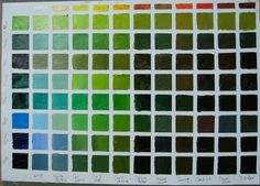 Pat Fiorello - Art Elevates Life: Oil Painting Color Charts - How to Mix Green Mixing Paint Colors, Color Mixing Chart, Paint Color Chart, Paint Charts, Color Charts, Oil Paint Colors, Photo To Oil Painting, Painting Canvas, Watercolour Painting