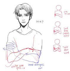 Anime Drawing Tutorial Draw arms crossed over. by the way, he looks like he wants to kill titans. - Anonymous said: Hiya how do you draw arms crossed over? Hand Reference, Drawing Reference Poses, Anatomy Reference, Drawing Poses, Drawing Tips, Drawing Stuff, Drawing Ideas, Manga Drawing Tutorials, Sketching Tips