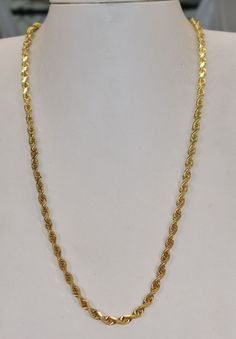 2b7c8b9b1 gold chain men pendants 14 K Yellow Gold 4 mm Solid Rope Chain 20 inch grams