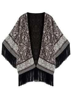 Multi,Paisley Pattern,Batwing Sleeve,Tassel,Kimono,Coat