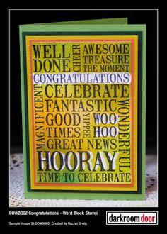 Card by Rachel Greig using Darkroom Door Congratulations Word Block Stamp