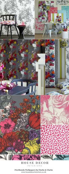 Floribunda Wallpapers by Clarke & Clarke @ House Decor Interiors #FloribundaWallpapers #Clarke #wallpaper #funky