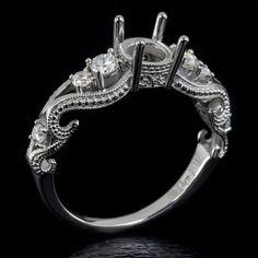 14k filigree diamond semi-mount, engagement ring setting with vintage design