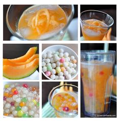 Cantaloupe Bubble Tea - cantaloupe, tapioca, agave nectar, your favorite tea (optional), and ice