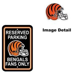 Cincinnati Bengals NFL Team Logo Home Office Garage Wall Parking Sign  Classic RESERVED PARKING BENGALS FANS ONLY *** This is an Amazon Affiliate link. You can find more details by visiting the image link.