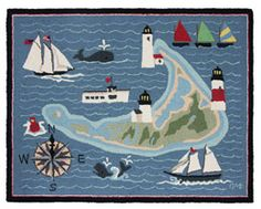 New Nantucket Island Hand hooked wool rug