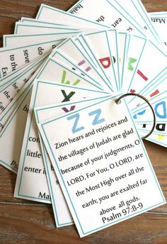 looks like the verses may be more for elementary age?  ABC Bible Verse pack {Free download!}   Delighting in Today