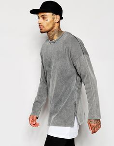 Image 1 of ASOS Longline Oversized Heavy Rib Sweatshirt With Zips & Acid Wash