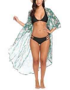 a98c2f195cb Women's Chiffon Kimono Beach Bikini Cover Up Floral Cardigan - Green Floral  - CA182SUHRNY