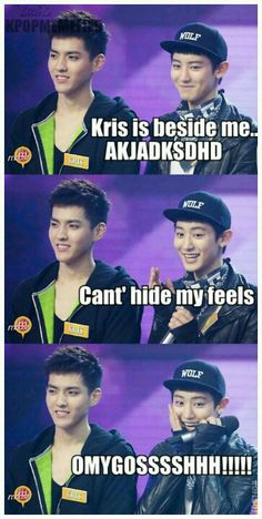 Krisyeol! ahahaha Chanyeol's ears and smile make me happy