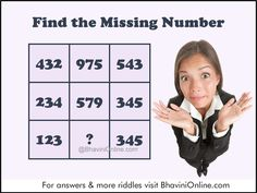 Find the Missing Number in the Given Table | BhaviniOnline.com