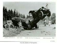 Looks like an unintended tip truck. Giant Tree, Big Tree, Old Time Photos, Photos Du, Vintage Trucks, Old Trucks, Vintage Pictures, Old Pictures, Tree Logs