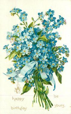 Trendy Flowers Vintage Tattoo Forget Me Not Ideas Arte Floral, Deco Floral, Decoupage Vintage, Vintage Paper, Vintage Greeting Cards, Vintage Postcards, Clipart Vintage, Vintage Flowers, Blue Flowers