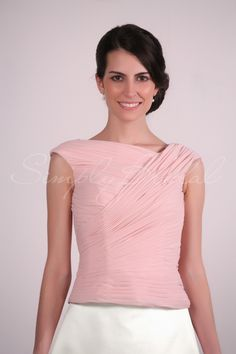 Cap-Sleeve Chiffon Top With Pleating #Top #Separates #SimplyBridal