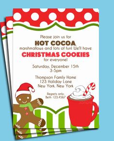 Hot Cocoa and Christmas Cookie Party Invitation