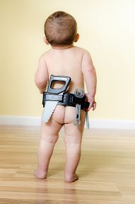 Creative idea for a 1 year old boy picture.  Bare bum with a tool belt :)  Photo Galleries - Carlo Vivenzio Photography