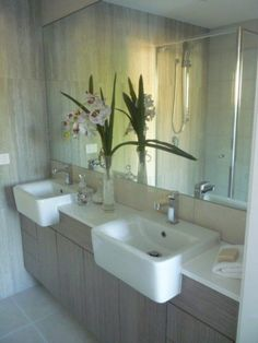 bathroom vanity with semi recessed basin - Google Search