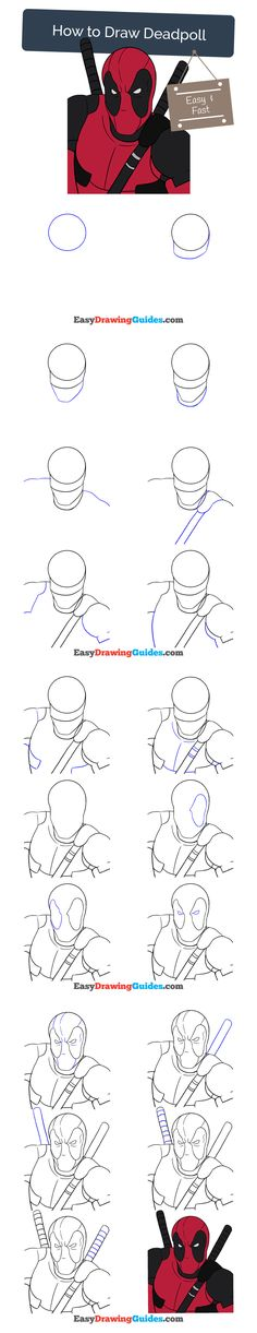 Learn How to Draw Deadpool: Easy Step-by-Step Drawing Tutorial for Kids and Beginners. #deadpool #drawing. See the full tutorial at https://easydrawingguides.com/how-to-draw-deadpool/