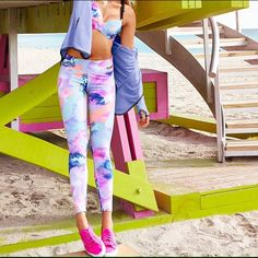 "NWT VS PINK Ultimate Yoga Leggings Super smooth and fit to flatter.  In pastel marble print.  Only from Victoria's Secret PINK.  Has pocket on waistband for iPod/phone.   28"" inseam Sporty pieced detail Imported polyamide/spandex PINK Victoria's Secret Pants Leggings"