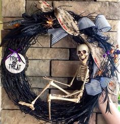 Skeleton Halloween Wreath from Etsy. Ship worldwide with Borderlinx.com