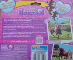 Animagic Rescue Hospital Horse Recovery Playset back card - Rosie the Horse