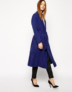Blue duster coat with wrap around via #asos. Love this look.