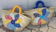 Cestas-capazos gran flor patchwork - artesanum com