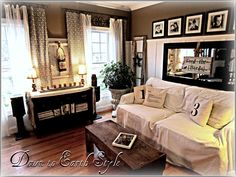 love this living room layout. she has very cute ideas on this blog: Down to Earth Style: My House