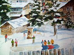 Vintage Vail Colorado Watercolor Art Print by Pia Flander by PoorLittleRobin, $35.00