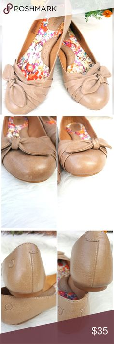 Born Slip On Flats Simple yet comfortable tan flats that go with just about anything. Wear them casual with shorts or jeans or dress them up with a cute blazer and pants!  **2nd photo shows small scuff. Please take note before purchase  Leather upper and man made materials Shoes Flats & Loafers