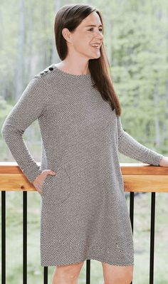 INTRODUCING STUDIO 1886- A women's fashion collection dedicated to boosting women's positive self-image with fashion designs created to flatter your shape so you can feel comfortable, confident and totally yourself. Slip into comfort with casually cool basics that are much more than basic. Soft knit dress with pockets. #womensfashion #dresses #womensdresses #knitdress #greydress